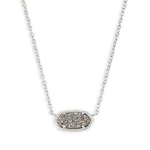 NWT Kendra Scott Elisa Silver Necklace Drusy